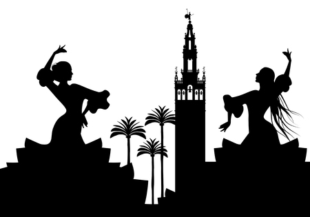 Silhouette of two flamenco dancers, palm trees and monuments in Seville. (The Giralda)