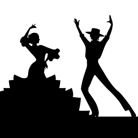 Silhouette of couple of typical Spanish flamenco dancers. Elegant man with typical Spanish hat Vettoriali