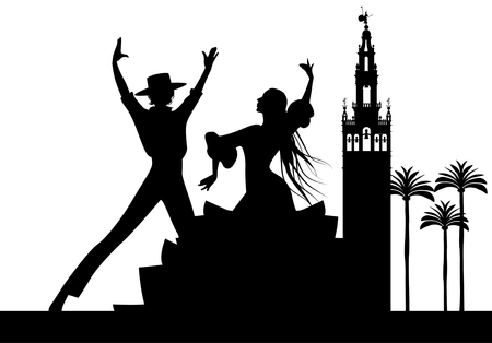 Silhouette of Spanish flamenco dancers couple, palm trees and monuments in Seville. (The Giralda)