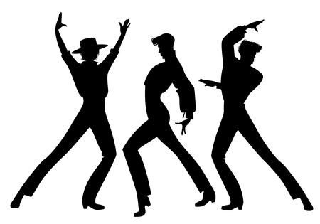 Silhouet van drie typisch Spaanse flamencodansers. Elegante mannen flamenco dansen.