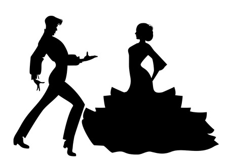Silhouette of couple of typical Spanish flamenco dancers. Illustration