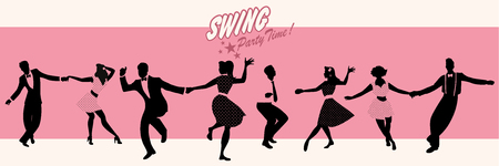 Swing Party Time: Silhouettes of four young couple wearing retro clothes dancing swing or lindy hop