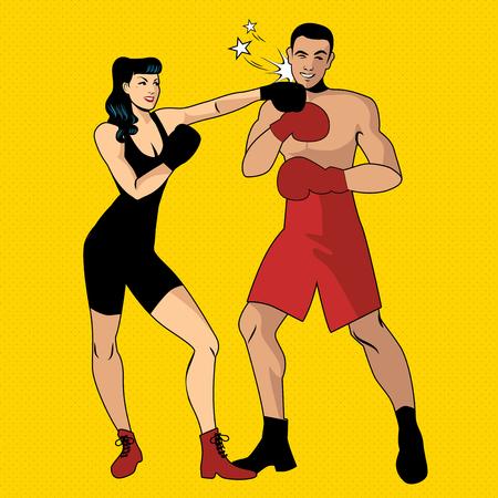 De oorlog van de geslachten. Mooi meisje bokser raakt haar knappe tegenstander met een linkse hoek Stockfoto - 94466271