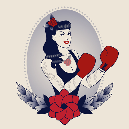 Emblem of pinup boxing girl, with flowers, tattoos and boxing gloves. Retro style. Tattoo style