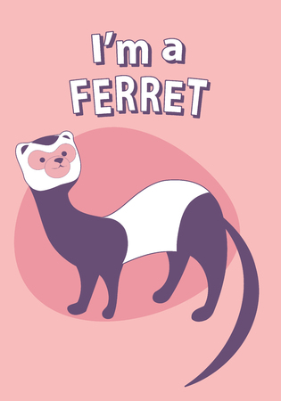 Cute cartoon style ferret with title above, on colorful background