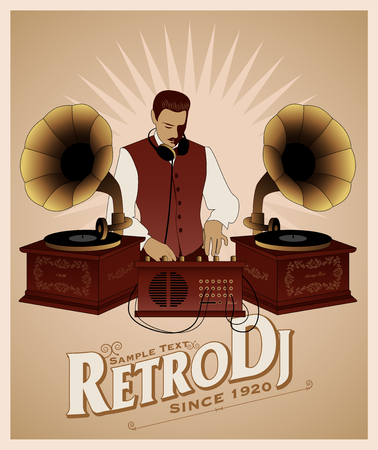DJ retro style with mustache, vest, bow tie and headphones around the neck. Vintage gramophones and title of old-style lettering.