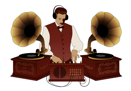 DJ retro style with mustache, vest, bow tie and headphones among vintage gramophones isolated on white background Illustration