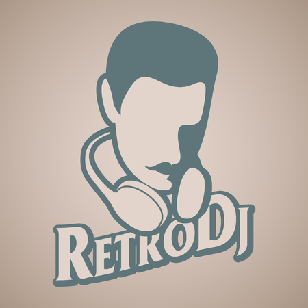 Man retro style with mustache and headphones around the head. Title of old-style lettering.