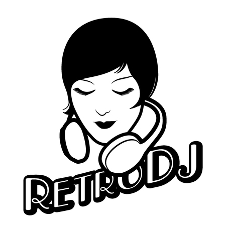 Woman retro style with headphones around her head isolated. Vintage title of old-style lettering.