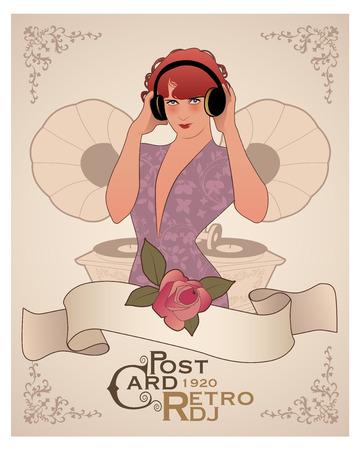 Vintage PostCard. DJ Woman retro style with headphones among vintage gramophones