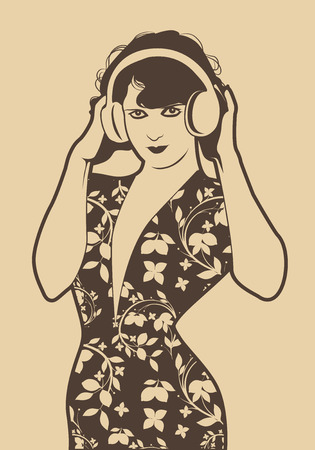 Beautiful flapper girl with headphones isolated. Retro Style Illustration
