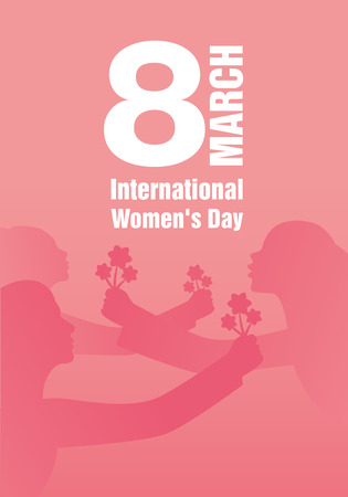International Womens Day. Silhouettes of women with outstretched arms holding bouquets of flowers. Main title March 8.