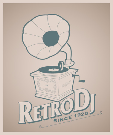 Vintage gramophone and title of old-style lettering.