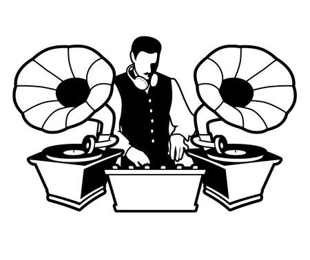 DJ retro style with mustache, vest, bow tie and headphones around the neck.