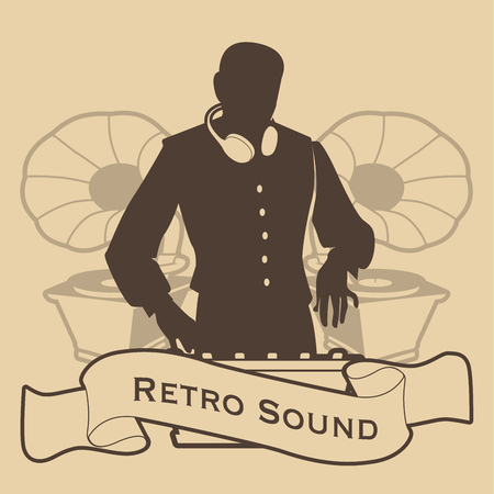 Silhouette of DJ retro style with headphones and gramophones on the background. Banner or ribbon in the foreground