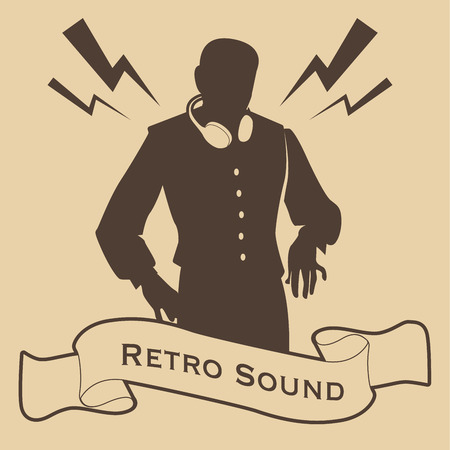 Silhouette of DJ retro style with headphones and banner or ribbon in the foreground