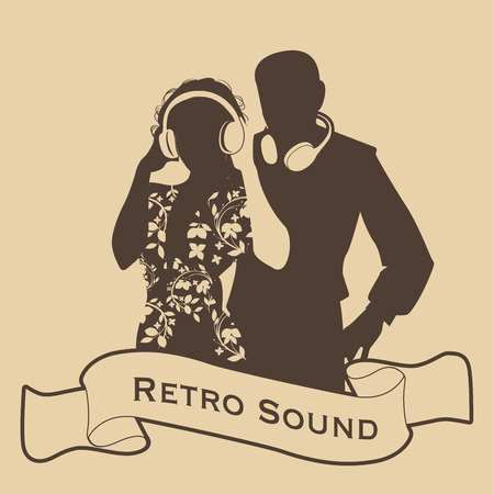Silhouette of DJ couple retro style with headphones and ribbon on the foreground