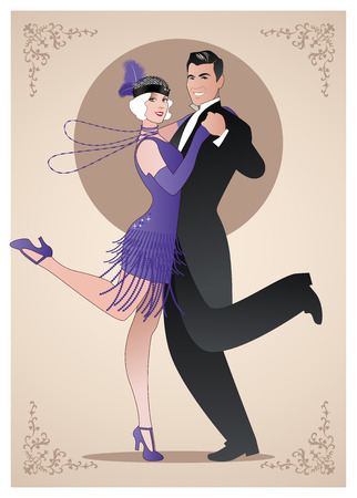 Couple wearing clothes in the style of the twenties dancing Charleston