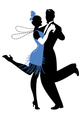 Silhouettes of couple wearing clothes in the style of the twenties dancing Charleston