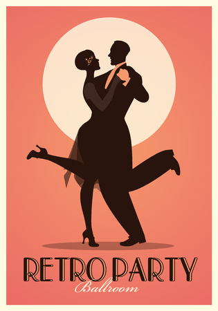 Retro Party Poster. Silhouettes of couple wearing clothes in the style of the twenties dancing Charleston