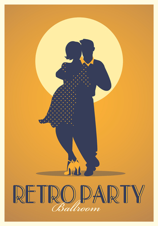Retro Party Poster. Silhouettes of couple wearing retro clothes dancing Illustration