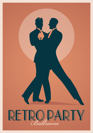 Retro Party Poster. Silhouettes of men wearing retro suits dancing Иллюстрация