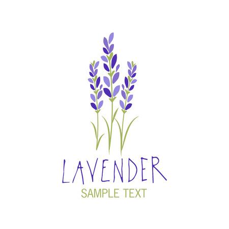 Lavender flower icon design, text hand drawn.  イラスト・ベクター素材