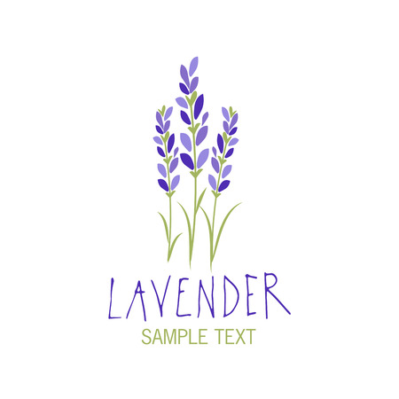 Lavender flower icon design, text hand drawn. Иллюстрация