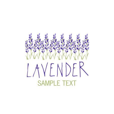 Lavender flower icon design, text hand drawn. Ilustracja