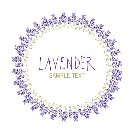Lavender flower wreath icon design, text hand drawn. Vettoriali