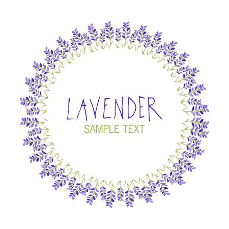 Lavender flower wreath icon design, text hand drawn. Çizim