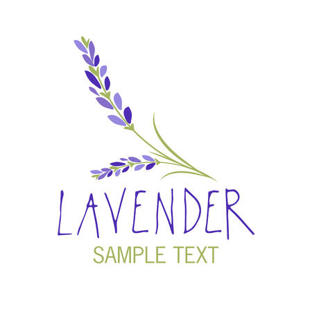 Lavender flower icon design, text hand drawn. Stock Illustratie