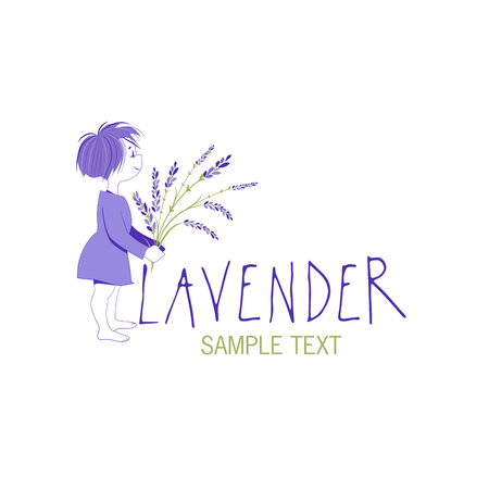 Little girl with lavender bouquet icon design, text hand drawn.