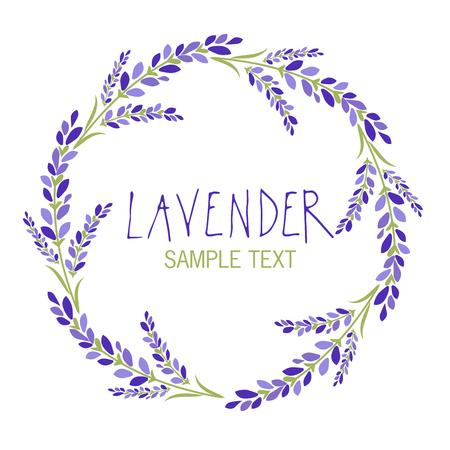 Lavender flower wreath icon design, text hand drawn. Ilustracja