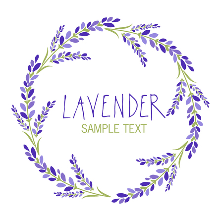 Lavender flower wreath icon design, text hand drawn. Illustration