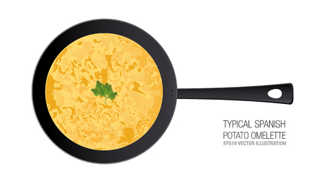 Typical Spanish potato omelette in a pan isolated on white background, ornament parsley. Vectores