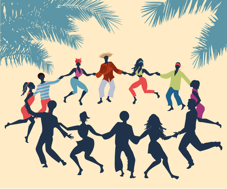 Cubain Rueda, ou groupe de personnes dansant la salsa en cercle sous les palmiers tropicaux.
