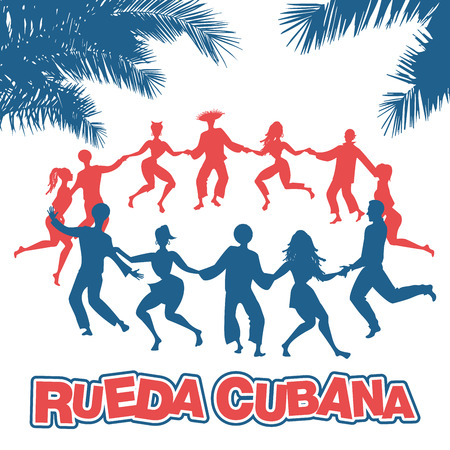 Cuban Rueda, or group of people dancing salsa in a circle under tropical palm trees.