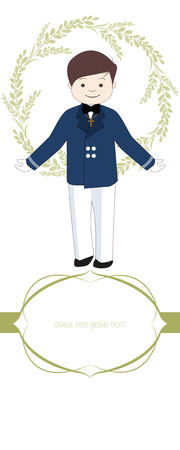 First communion celebration reminder. Cute boy wearing communion suit surrounded by flower wreath, space for text. Illustration
