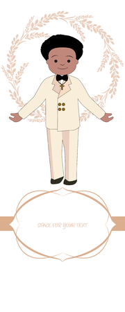 First communion celebration reminder. Cute boy wearing communion suit surrounded by flower wreath. Space for text. Vectores