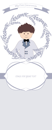 First communion celebration reminder. Cute boy wearing communion suit surrounded by flower wreath, space for text. Stock Illustratie