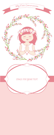 First communion celebration reminder. Cute girl wearing a white dress, surrounded by flower wreath, space for text. Stock Illustratie