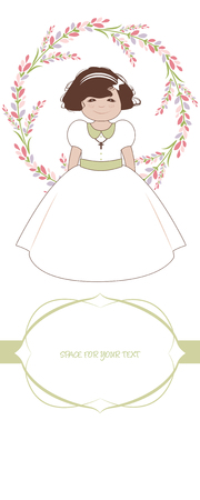 First communion celebration reminder. Cute girl wearing a white dress, surrounded by flower wreath, space for text. Illustration