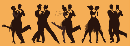Silhouettes of five couples wearing clothes in the style of the twenties dancing retro music