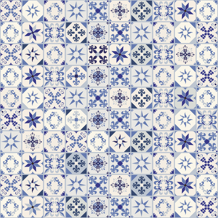 Seamless pattern of hydraulic tiles, typical of Spain, Italy and Portugal. Oriental style. Фото со стока - 97141195