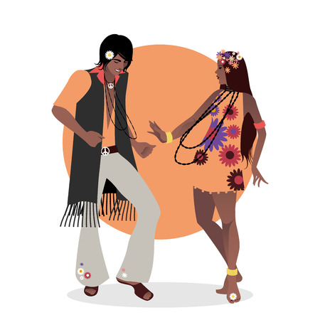 Young couple wearing hippie clothes of the 60s and 70s dancing Ilustração