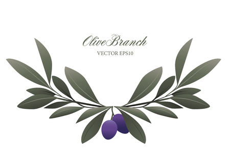 Olive branch wreath isolated vector illustration. Çizim