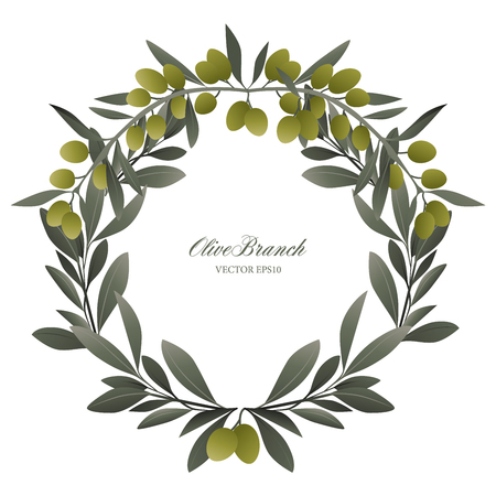 Olive branch wreath isolated vector illustration. Vettoriali