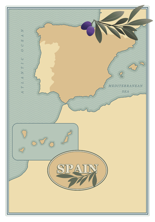 Spain map with olives, branches and olive leaves retro style. Vettoriali