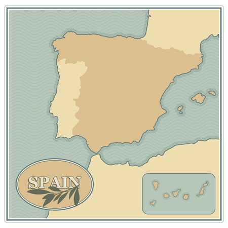 Spain map with olives, branches and olive leaves retro style. Illustration